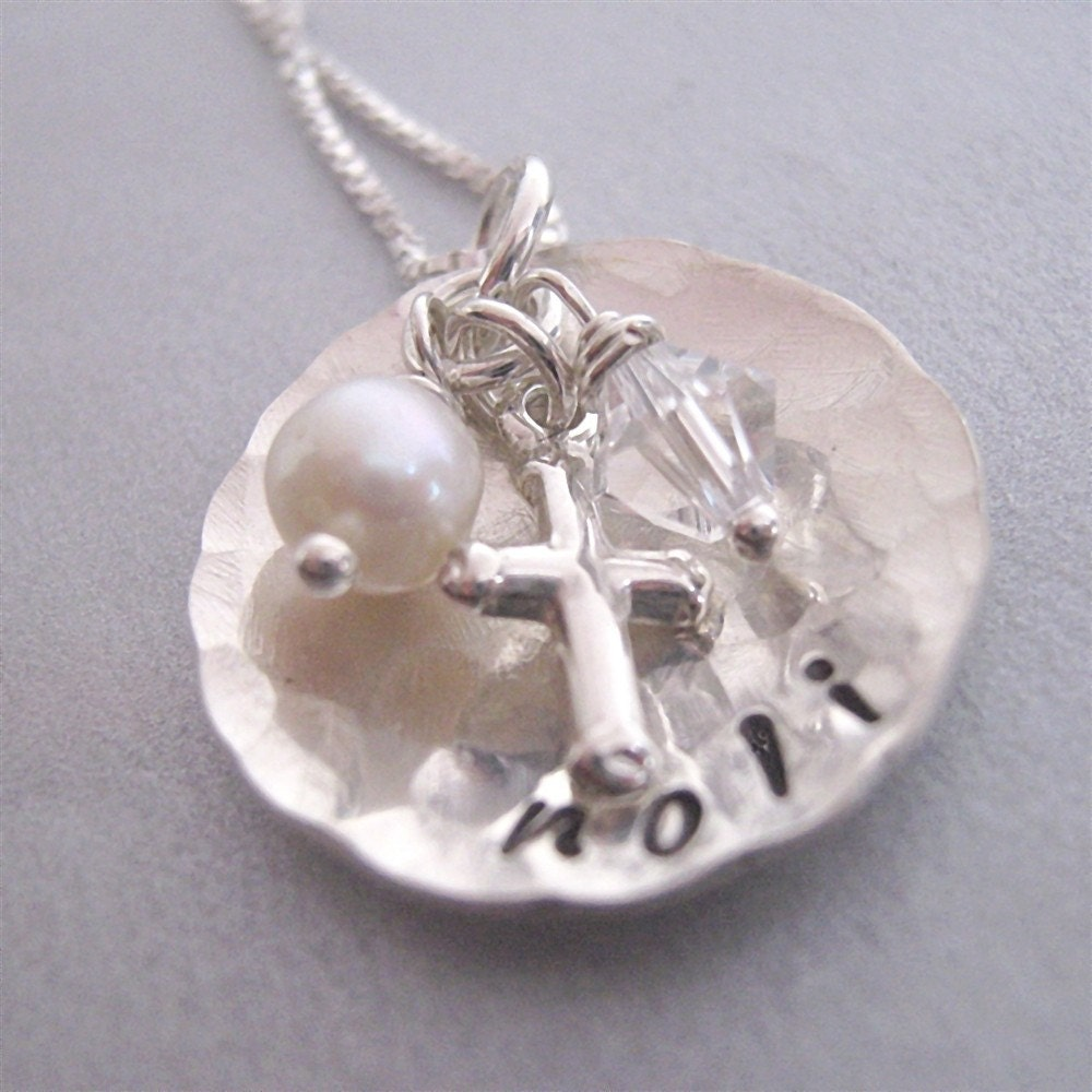 Cup of Faith  sterling silver customized hand stamped necklace with cross