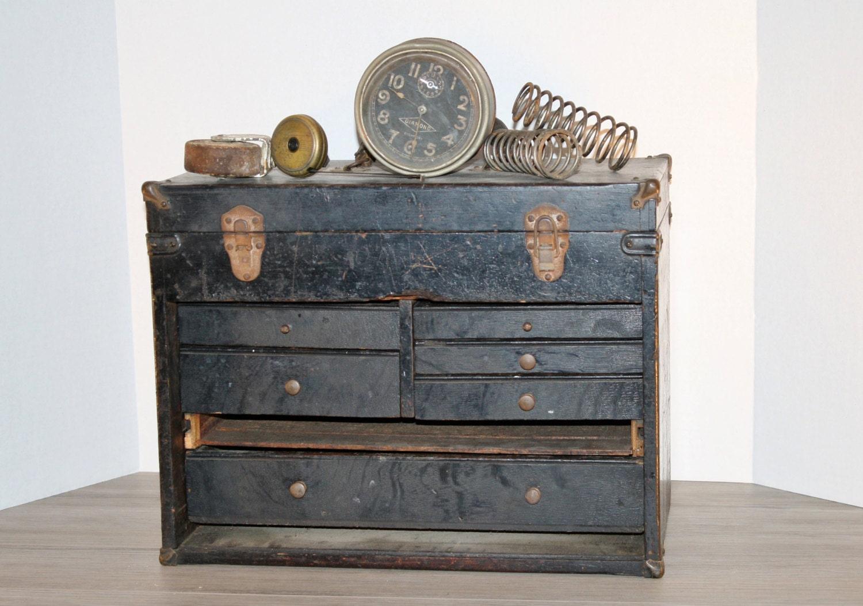 Antique Wooden MACHINIST TOOL BOX. Primitive. Garage. Home Decor. Storage. Steampunk. Workshop - VintageFindsUpNorth