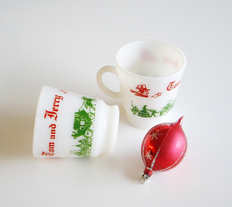 Milk Glass Christmas Mugs - Eggnog or Punch - Hazel Atlas Tom and ...