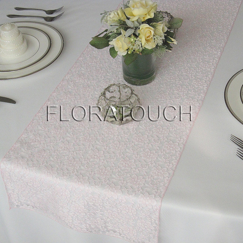 runner floratouch on  by Etsy Runner Light table Wedding Table Pink Lace overhang