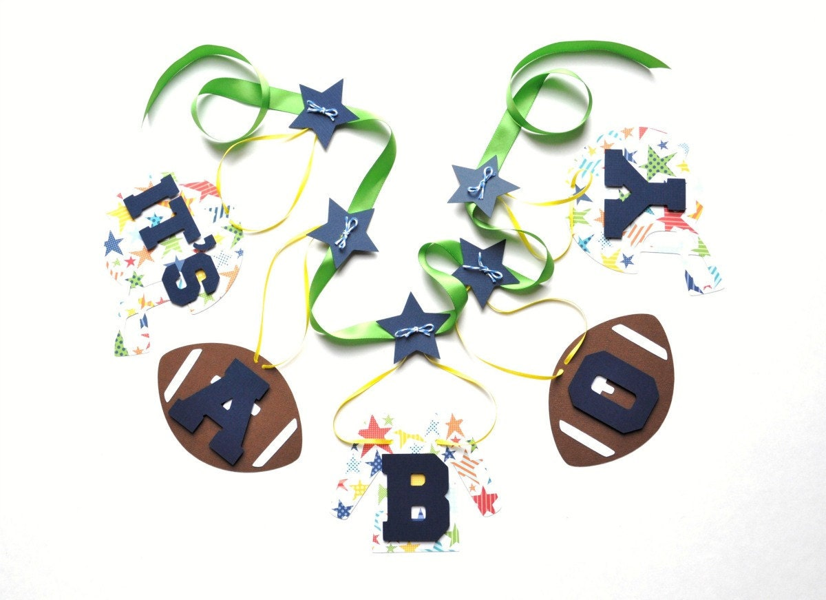 football baby shower decorations blue and green by parkersprints