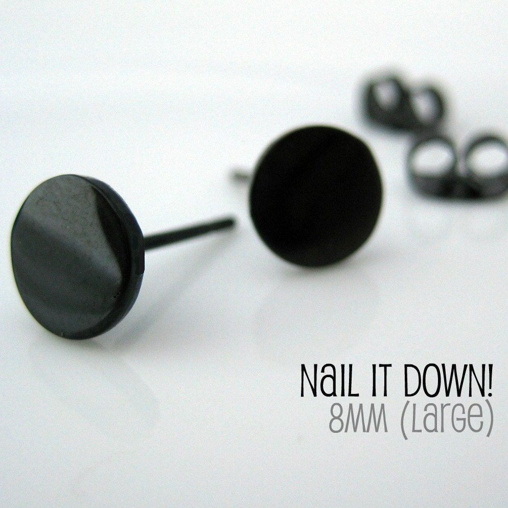 Earrings  Guys on Mens Earrings Black Stud   Earrings For Men    Nail It Down Size L  No