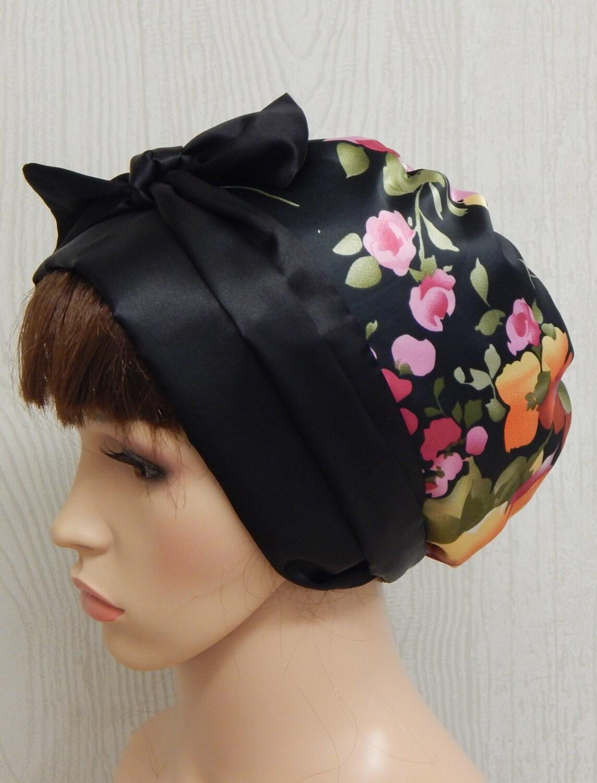 Floral black satin head scarf silky head wrap bad hair day cap sleeping head wrap Jewish tichel head wear satin head scarves
