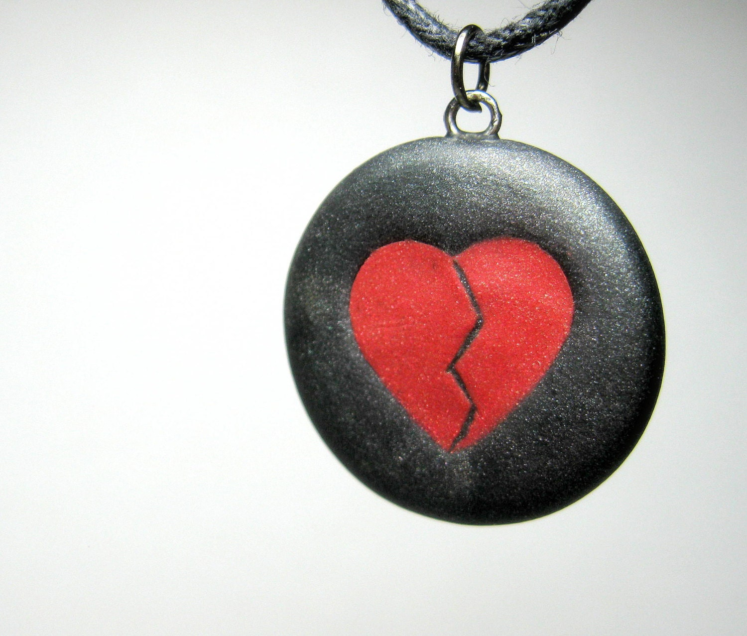 Anti Valentine's Day, Handmade Polymer Clay Necklace, Jewelry, Pendant, Goth, Red and Black Broken Heart - neiceysclaythings