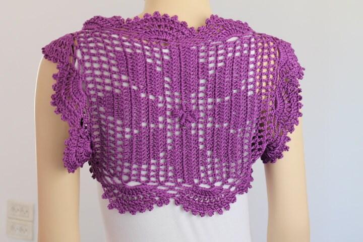 Crochet Flower Shrug Pattern : Crochet Cotton Deep Lilac Flower Shrug Bolero / by levintovich