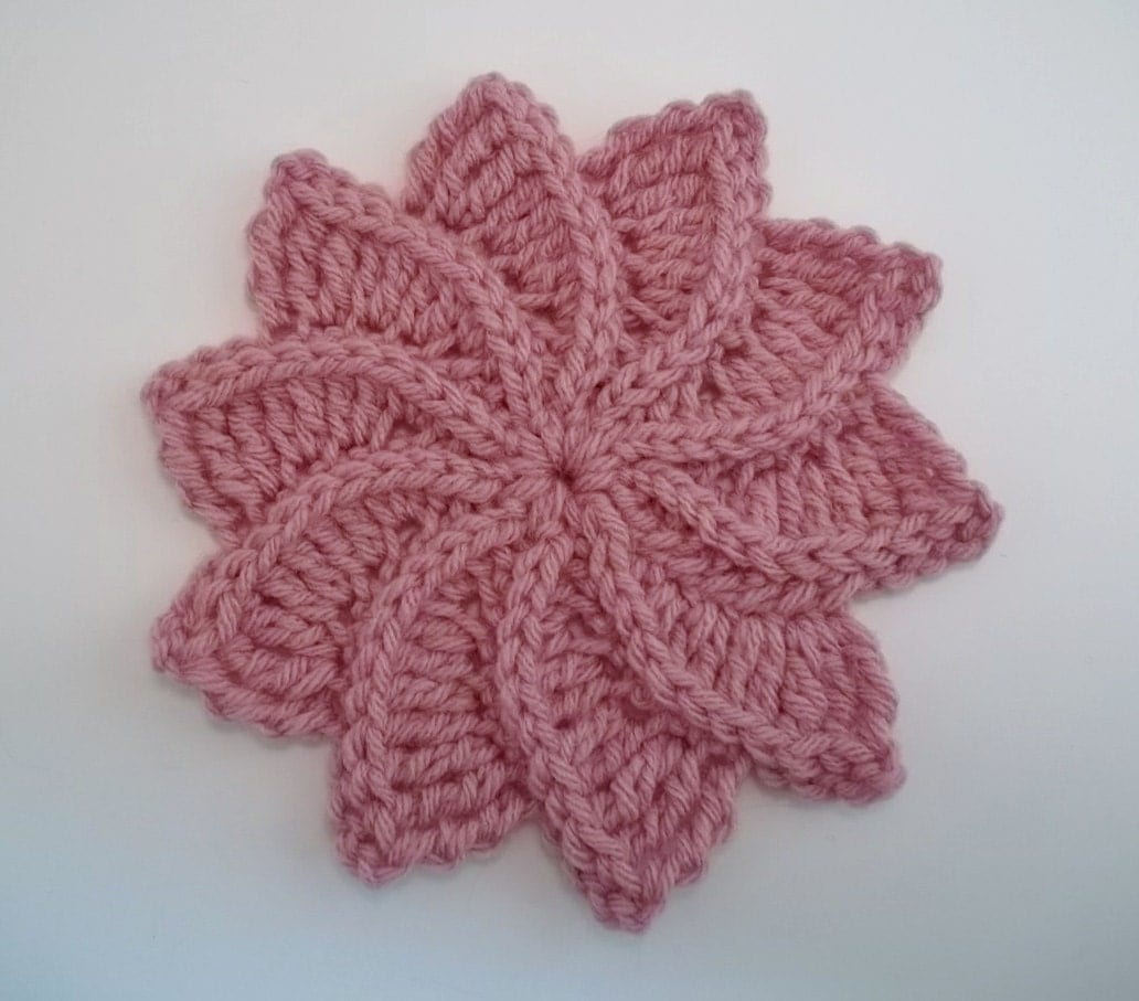 Twirlagig spiral Flower a knit look Crochet by TheHookHound