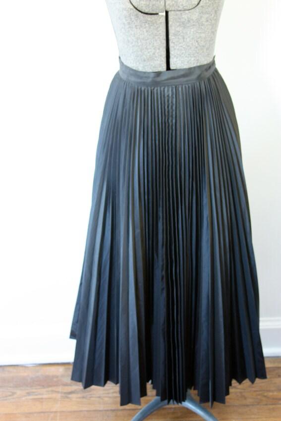 black pleated maxi formal skirt by sentimentalhvintage on etsy