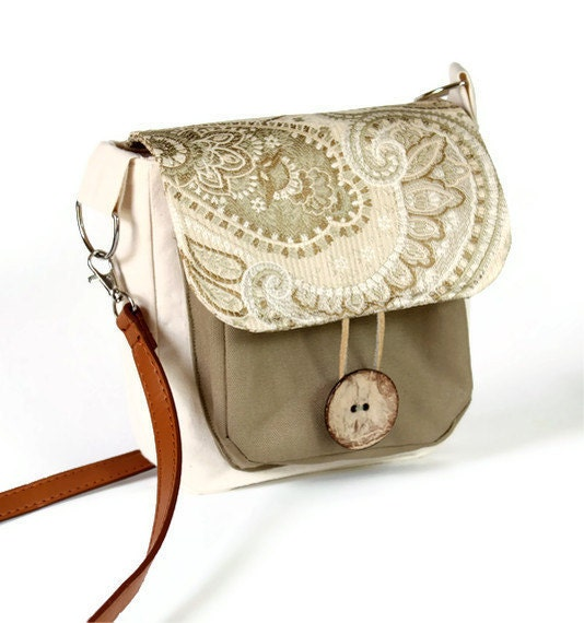 Khaki Handmade Cross Body Bag with Paisley Accent - CrookedSmileCreation