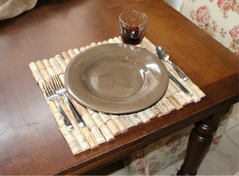 "16""x 14"" Set of 4 Wine Cork Place Mats / Recycled Wine Cork Table Place Mats / Dining Table Mats / Modern Place Mats / Wine Cork Gift Ideas - RepurposedCork"