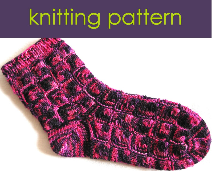 Knitting Pattern Slippers Squares : Mitred Square Socks Knitting Pattern Knitted by clairecrompton