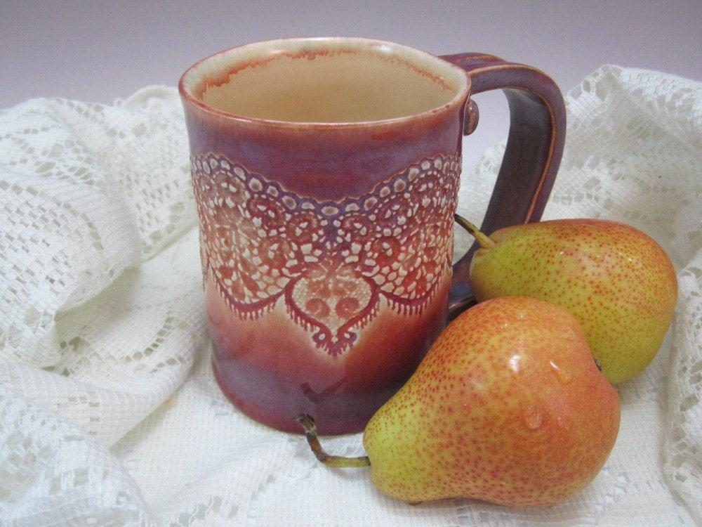 Handmade Ceramics - Lacework Coffee Mug / Cup - Pomegranate - LaceworkCeramics