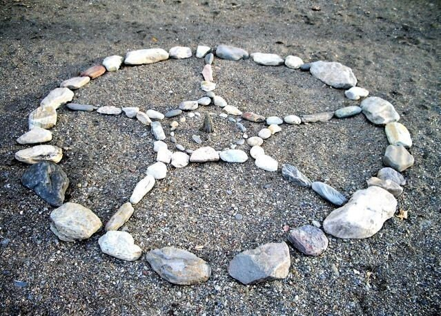 Lake Mandala Medicine Wheel, Stone Art, Alter Art, Spiritual Art Photograph - spirithelpers
