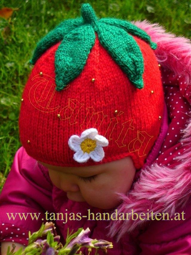 Strawberry Earflap Hat Knitting Pattern by PrincessesParadise