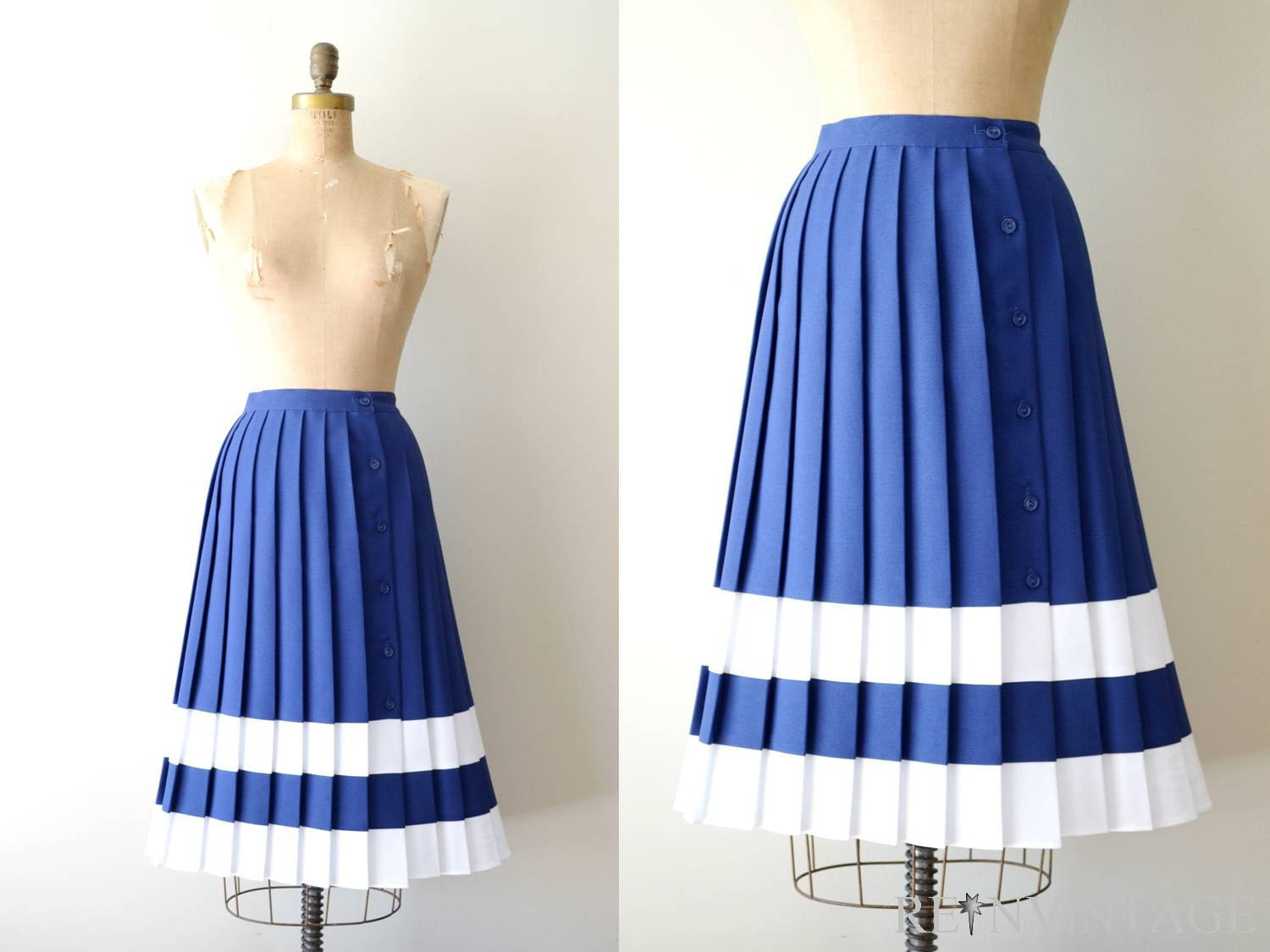 vintage pleated skirt 1970s blue white stripe by