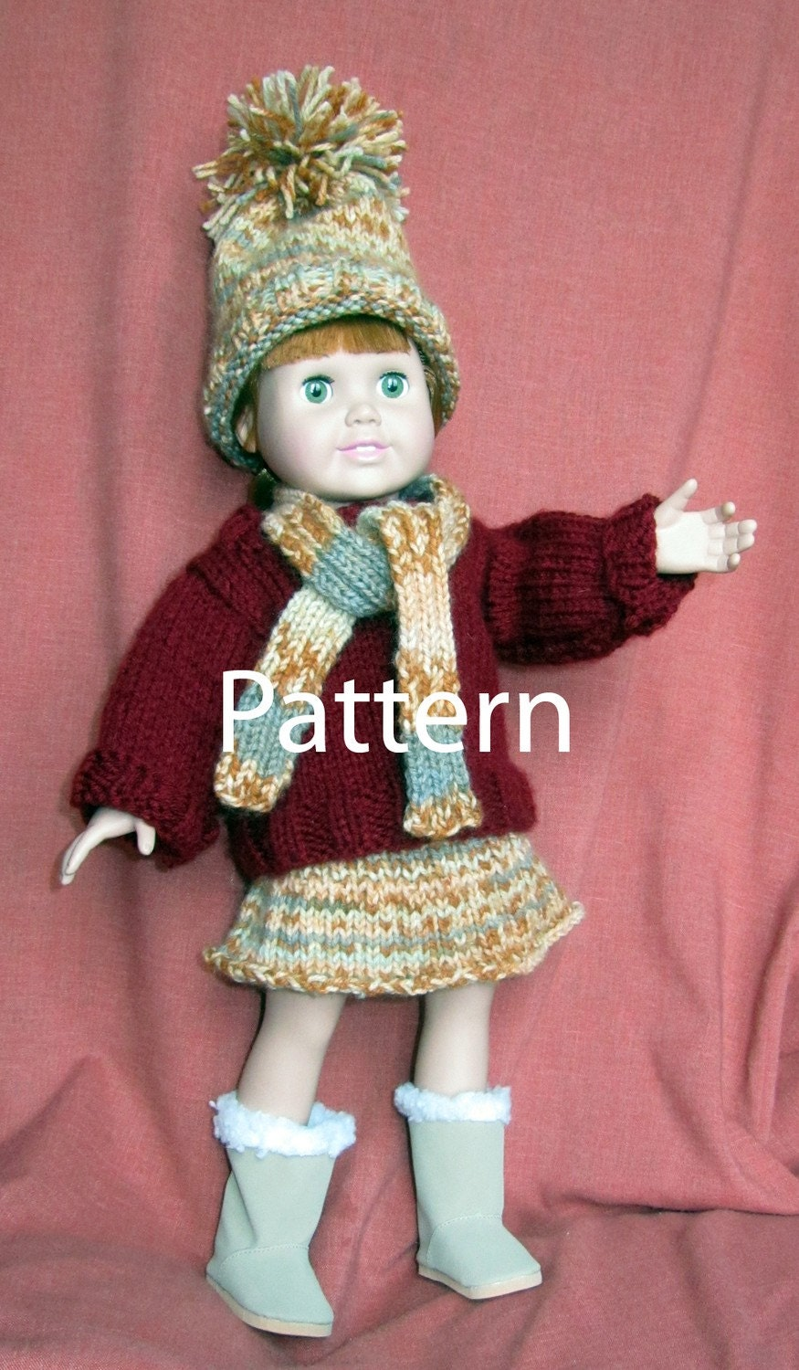 Knitting Pattern For Dolls Skirt : 18 Inch Doll Knit Pattern Sweater Skirt by EvensensProductions