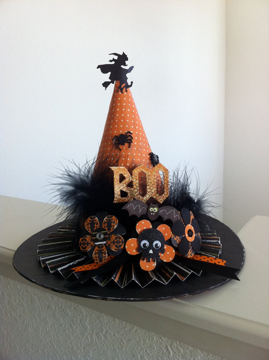 Halloween Witch Hat Paper Mache Decoration by PinkApe on Etsy - Cute Witch Decorations