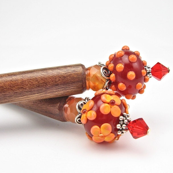 Hairsticks, Red Orange Lampwork Beads, Sterling Silver, Hair Sticks - OzmayDesigns
