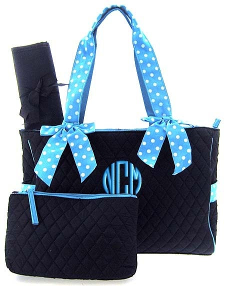 diaper bag personalized black blue polka dots quilted by parsik93. Black Bedroom Furniture Sets. Home Design Ideas