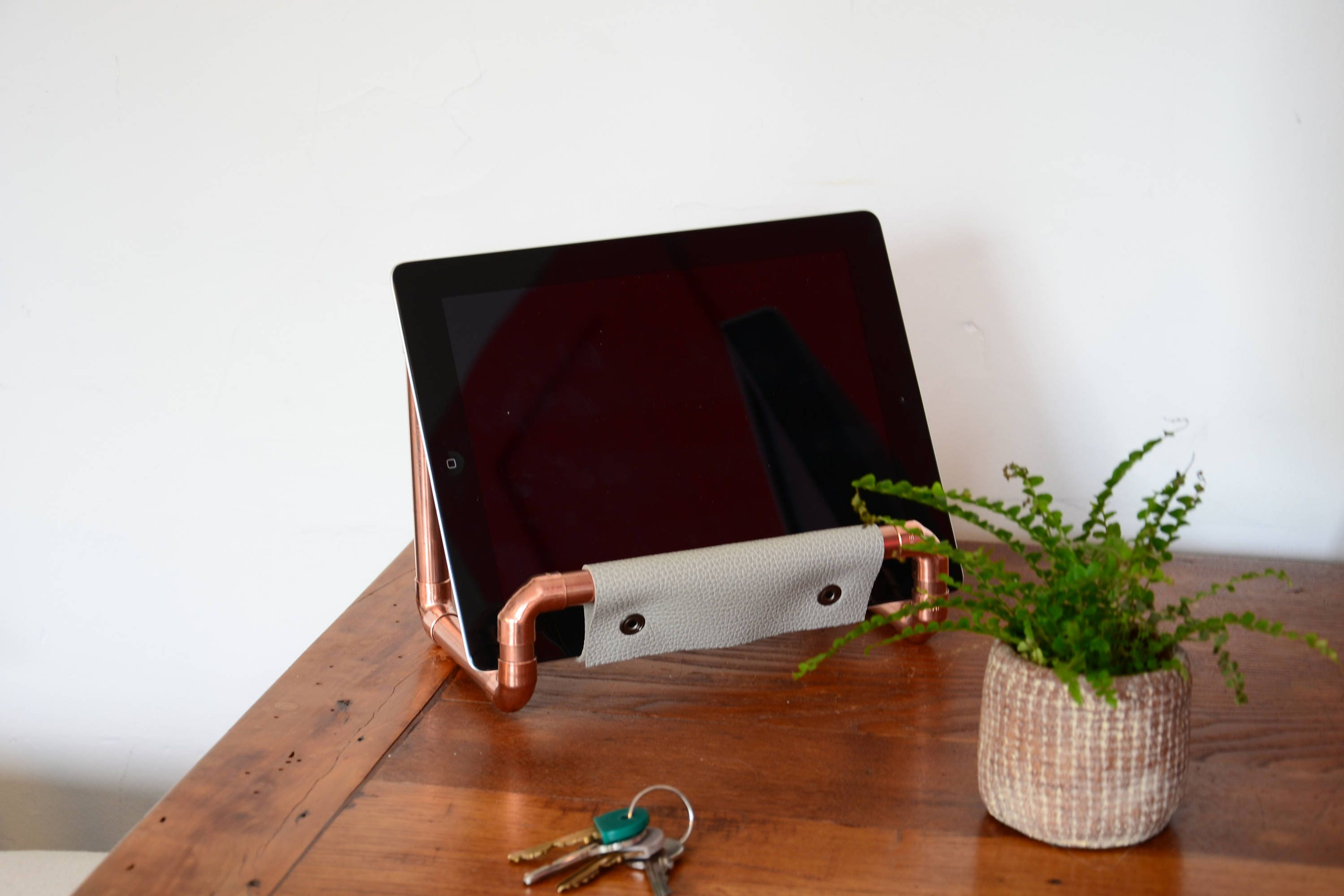 Leather desk accessory  Ipad holder Copper tablet stand Copper kitchen accessory Industrial Decor Copper furniture House organizer