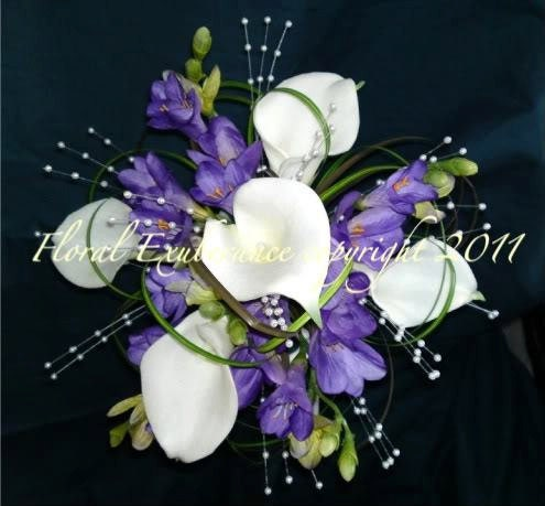 Artificial Lilac and Ivory Bridesmaids Bouquet with Calla lily Freesia and Pearls Artificial  wedding flowers