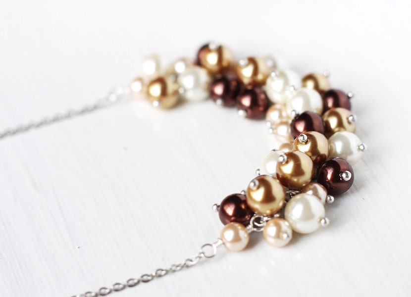 Fall Wedding Bridesmaids Jewelry Pearl Cluster Necklace in Shades of Brown, Gold and White, Earth Tones, Autumn - Chocolate Latte - skyejuice