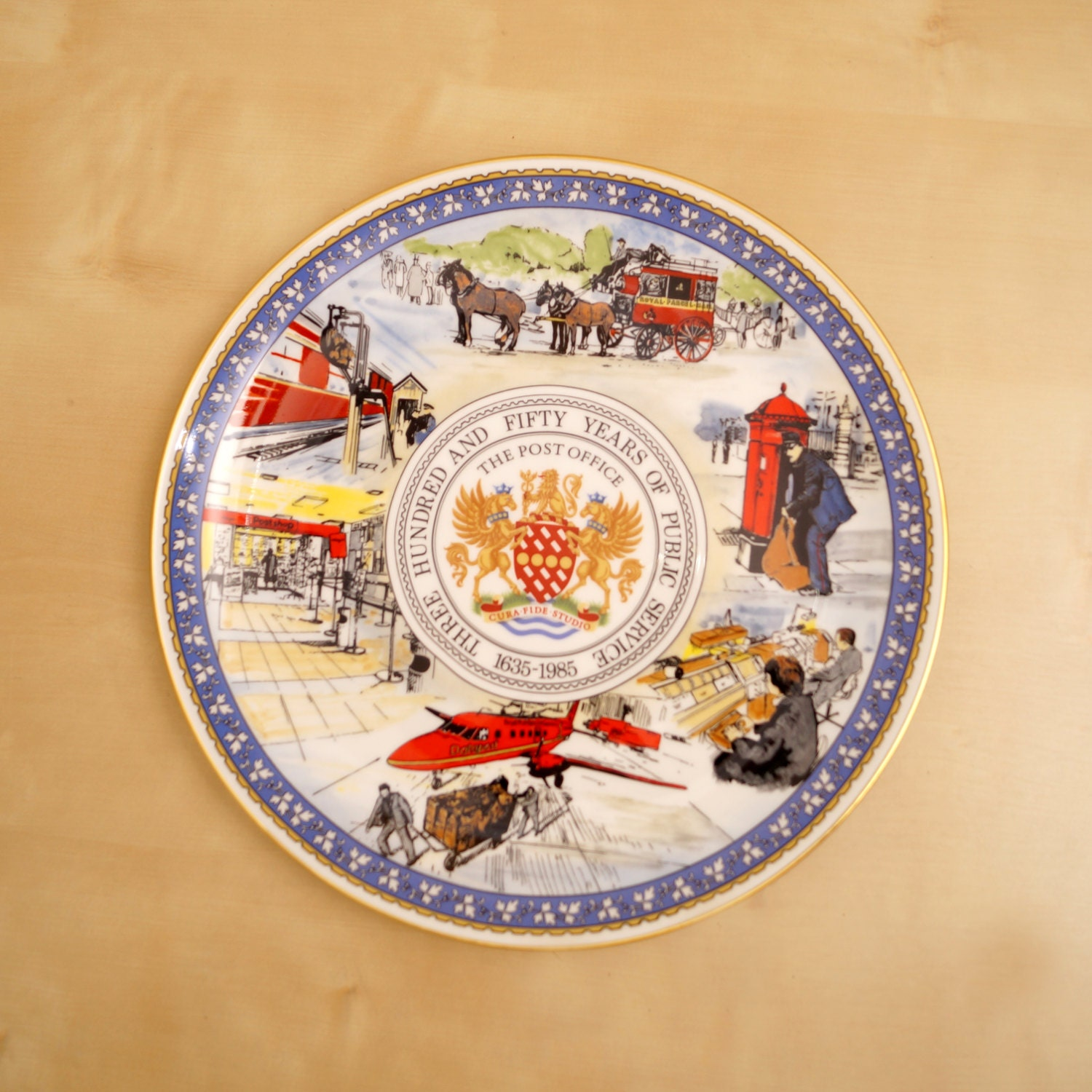 The Post Office 350 years of Public Serving 16351985 CoalPort Fine Bone China Decorative Plate Made in England