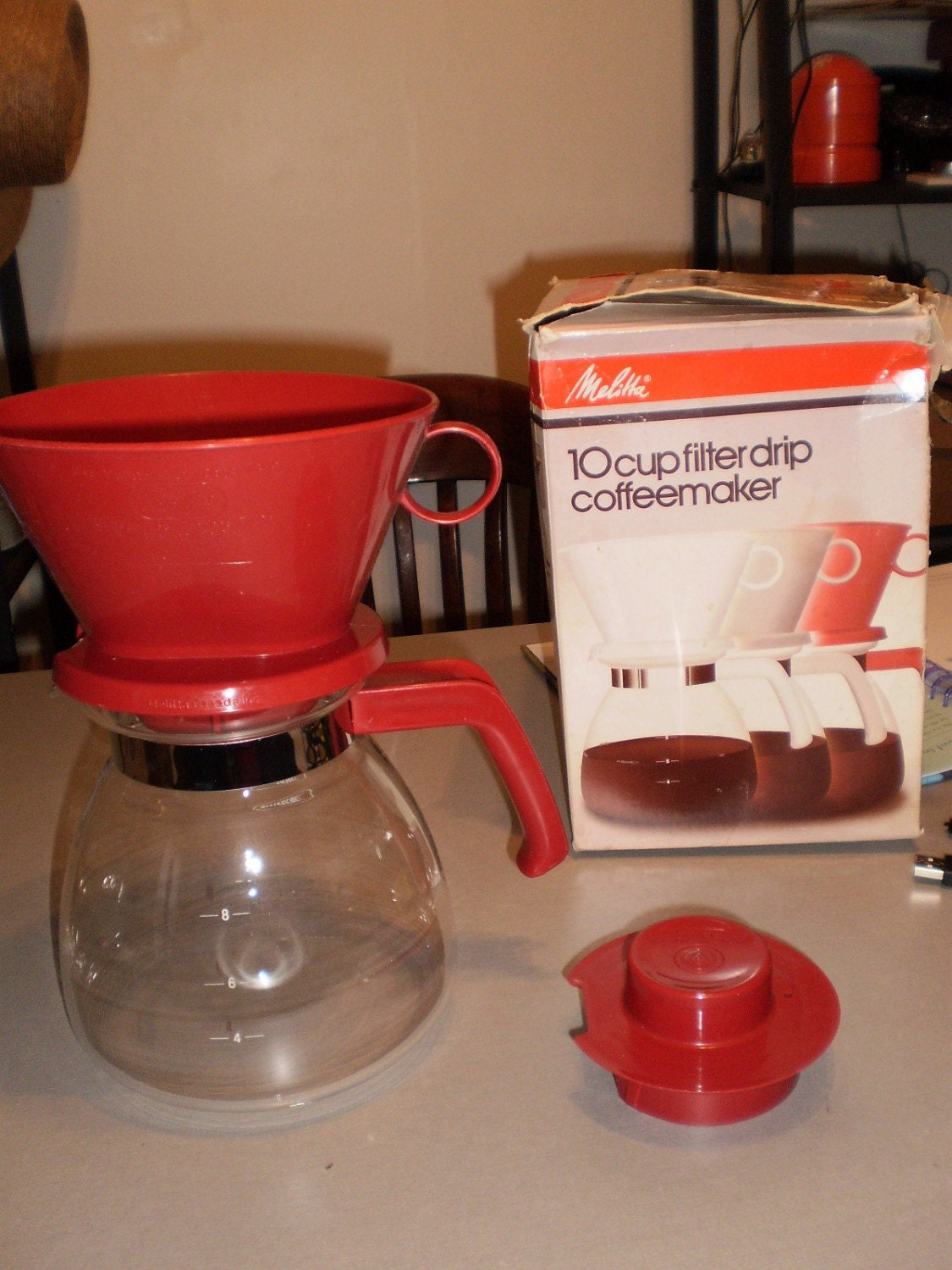 1980 s vintage red MELITTA manual drip coffee by ArdentForager