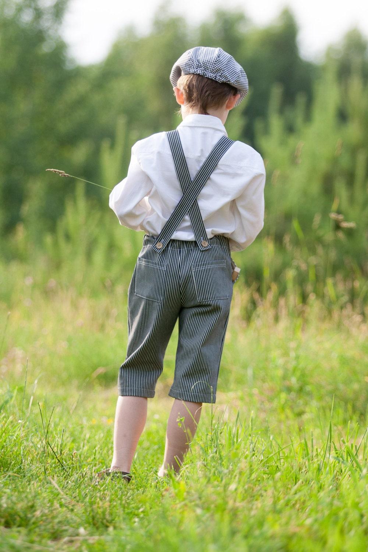 Suspender striped short pants.62/3-6m - 122/6 - adatine