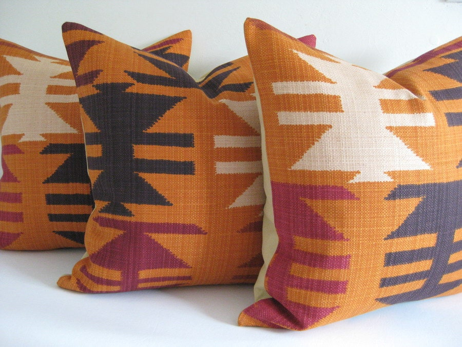 Pillow Cover Kilim Navajo Tribal Harvest Ready to Ship - theCottageWorkroom