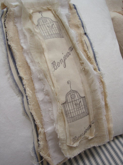 "FrenCH PariS Bonjour  Distressed White Denim Cottage Shabby Chic Hand Ticking and Ribbon 16"" PiLLow"