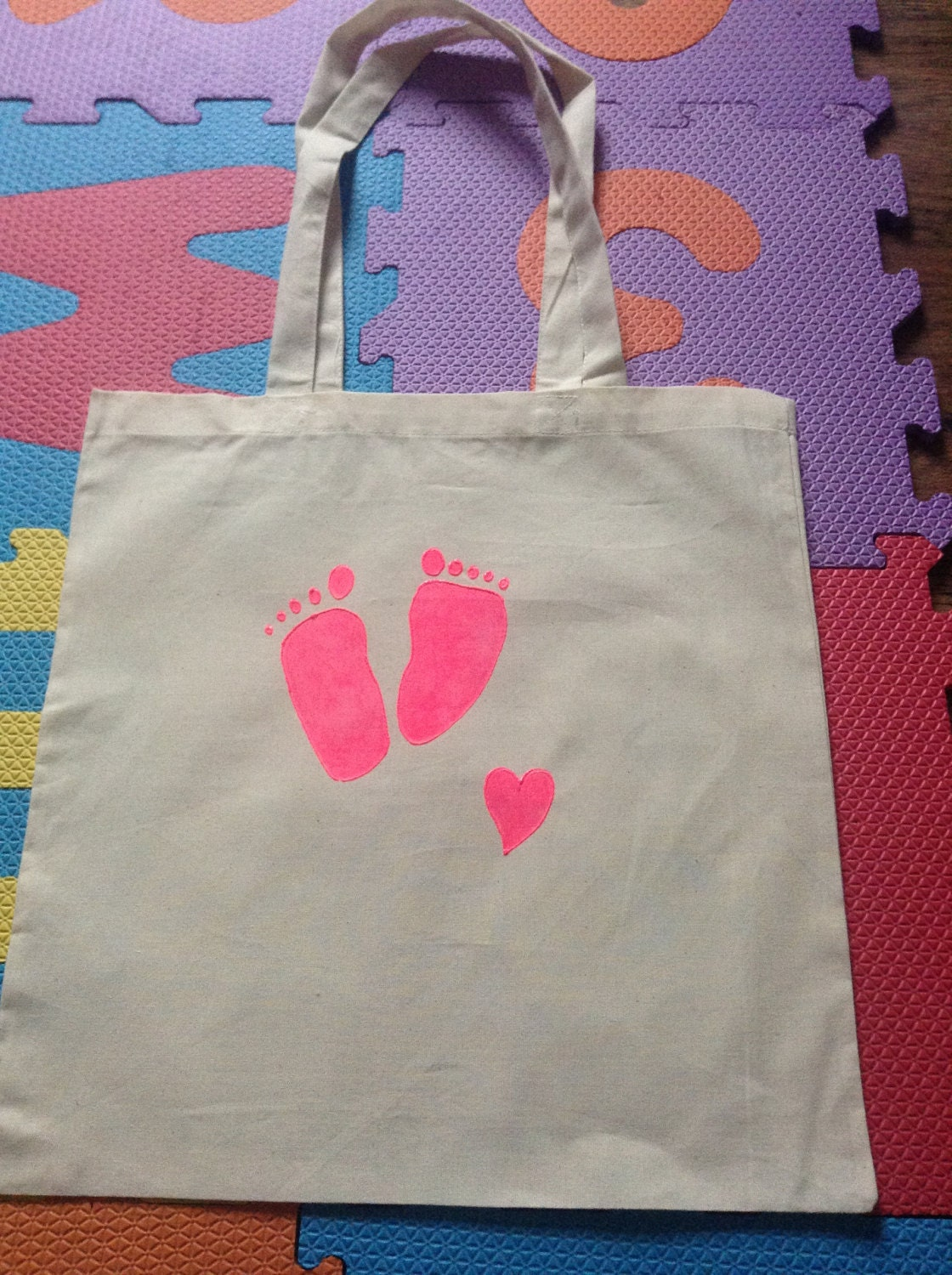 HandPainted Natural Cotton Tote Bag Pink Baby Feet New Baby Gift  Baby Shower