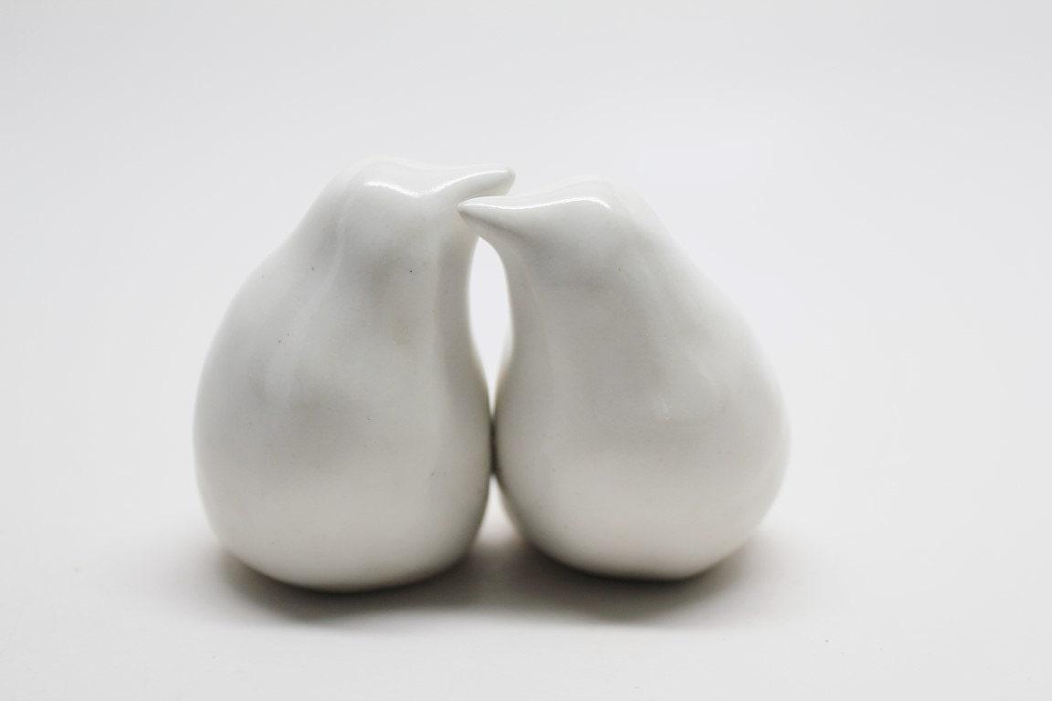 Simple and Elegant Handmade Porcelain Love Birds, Custom Stamped Wedding Cake Topper Birds