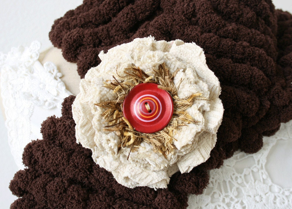 Textile Flower Pin Brooch in Winter White, Red and Gold