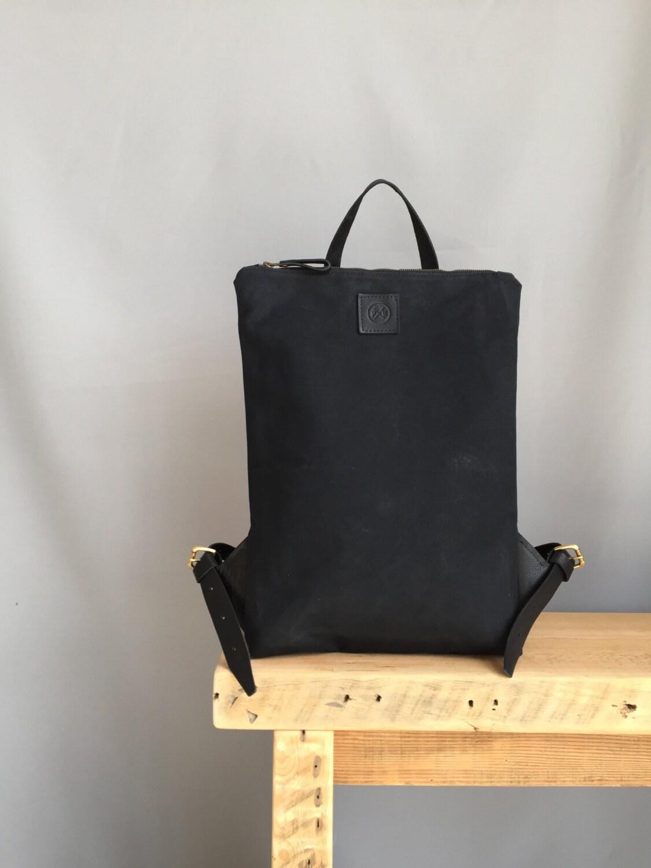 Black waterproof waxed canvas backpack black backpack small black backpack canvas backpack black work bag black canvas laptop bag