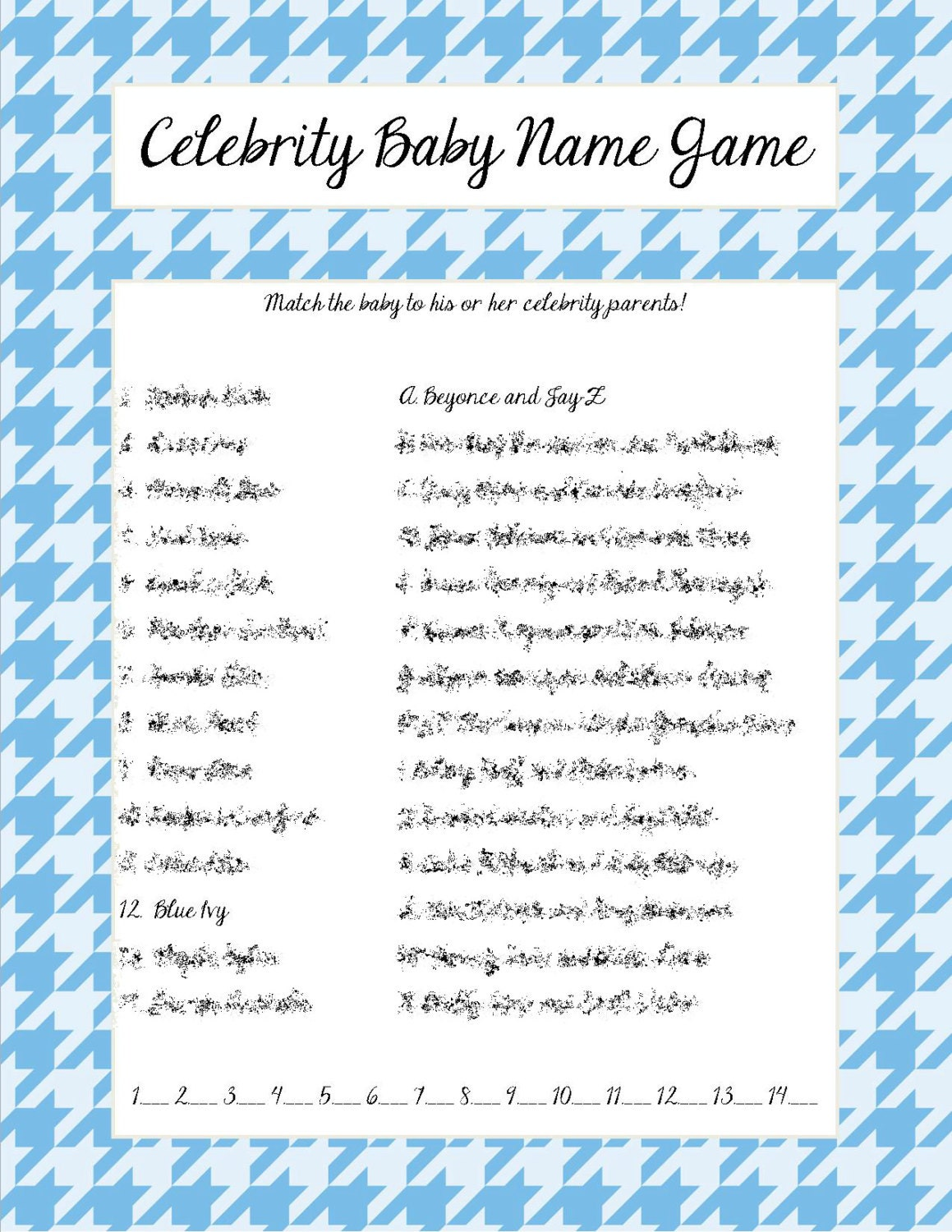 Celebrity baby name game blue houndstooth print