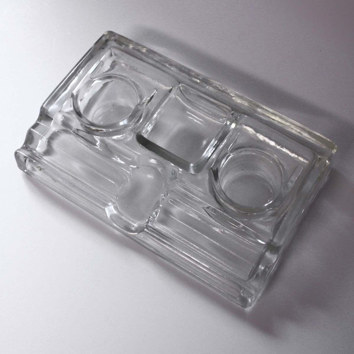 Vintage glass desk organizer with ink wells by - Glass desk organizer ...