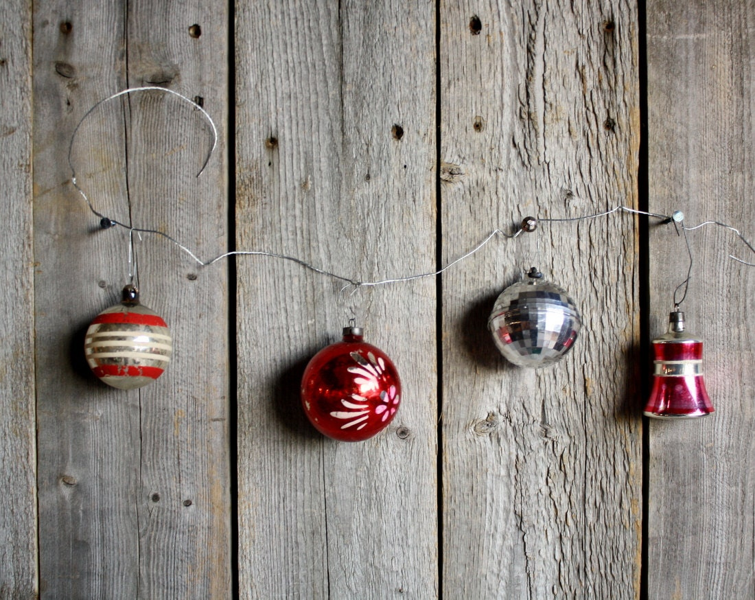 Vintage Mercury Glass Ornaments, Red and SIlver - shavingkitsuppplies