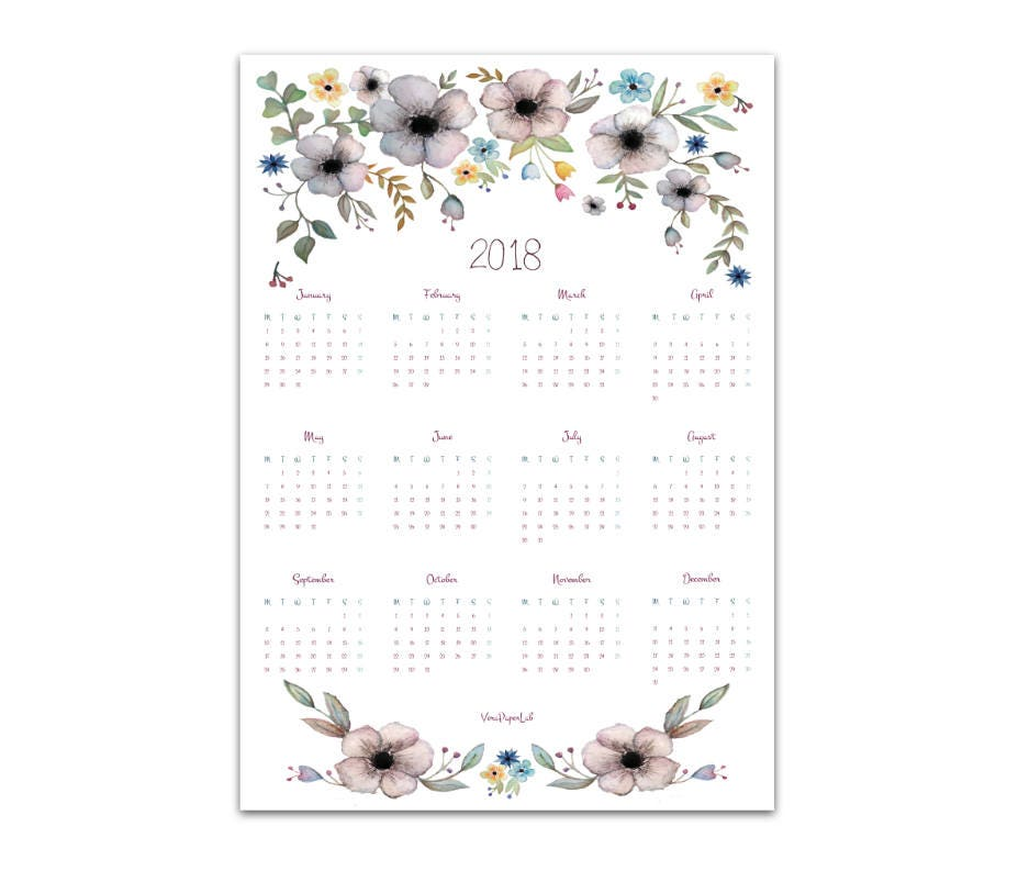 PDF printable calendar 2018 one page colorful hearts