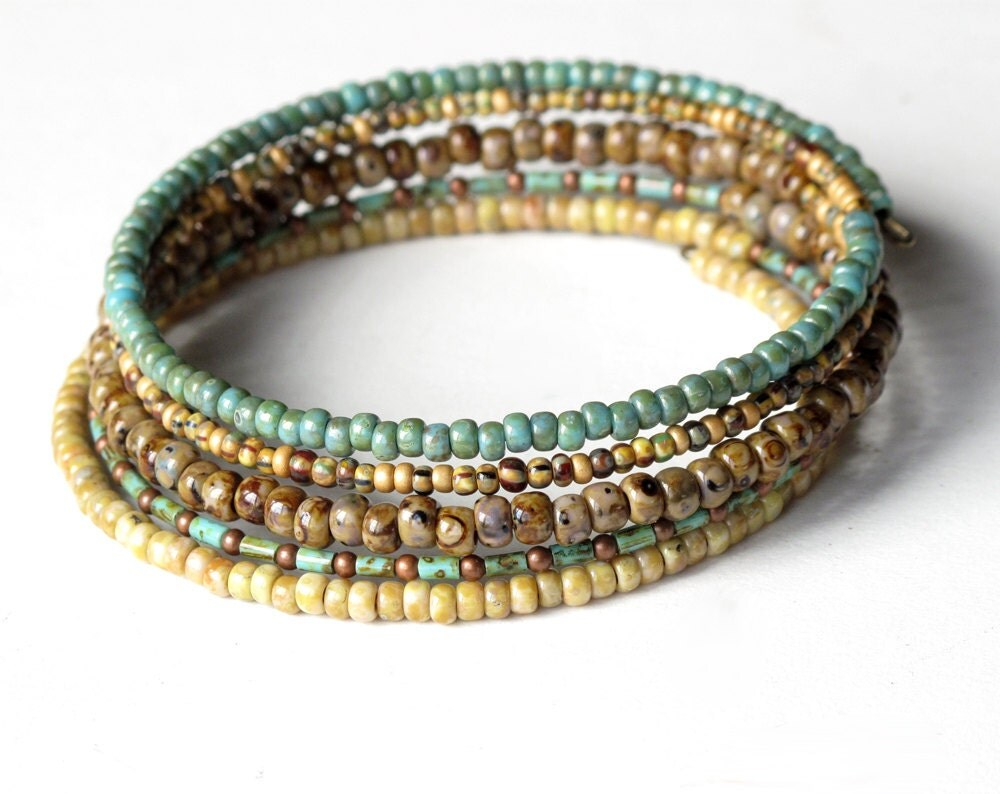 stacked beaded bracelets brown turquoise beige by