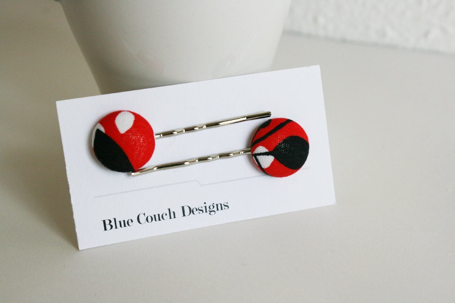 80s Inspired --- fabric button hair pins