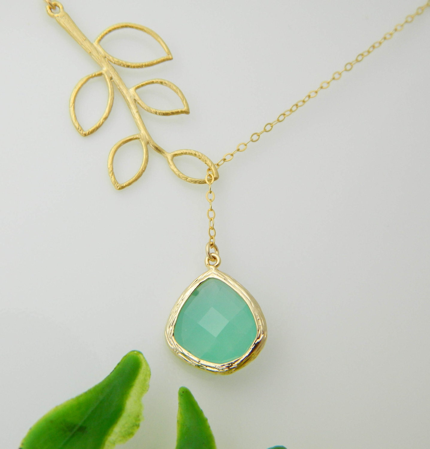 Aqua Necklace, Lariat Leaf Necklace, Gold Framed, Bridesmaid Necklace, Wedding Jewelry, Personalized Bridesmaid Gift