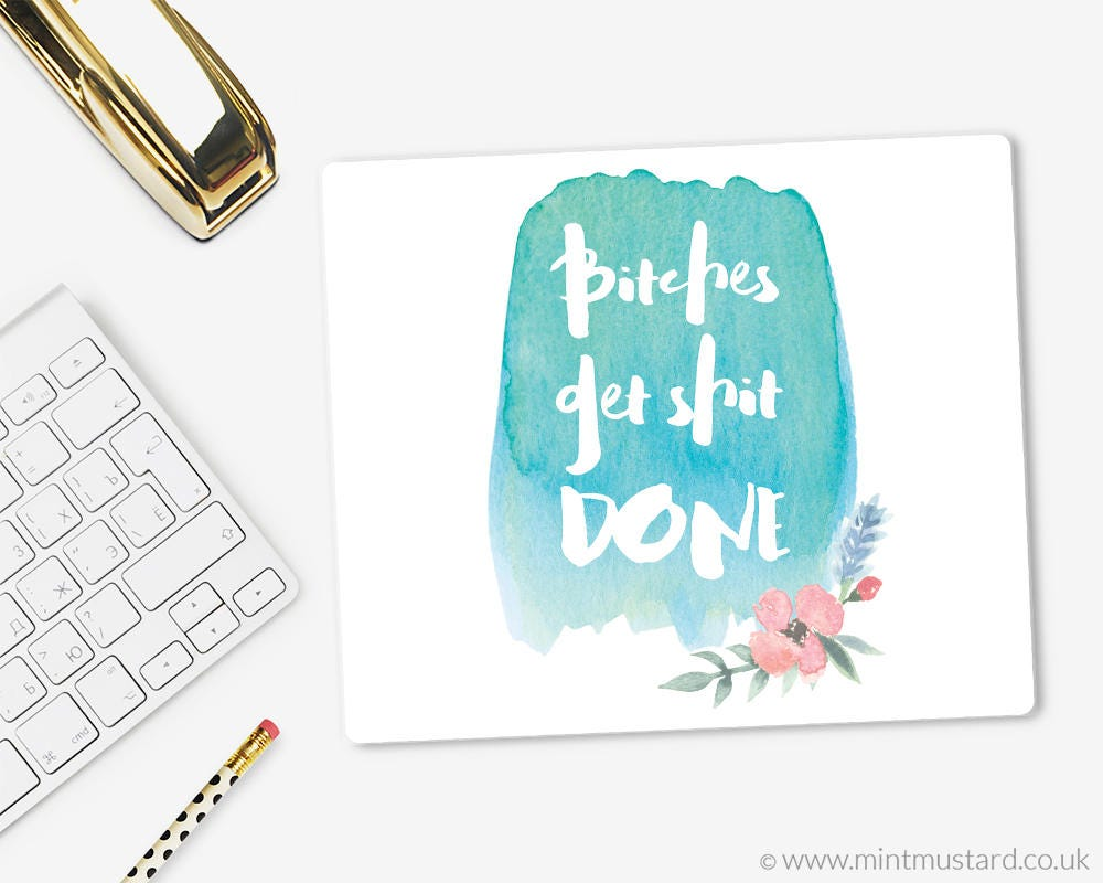 Image of Bitches get Shit Done Mouse Pad Fabric Mouse Mat Modern Mousepad Office Decor Floral Watercolour Gift for her