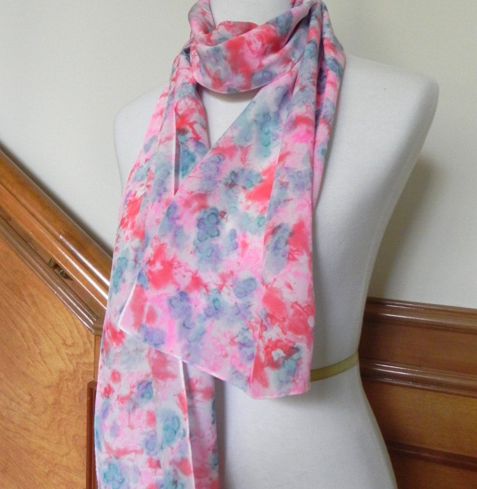 Hand Dyed Silk Scarf of Crepe de Chine Silk in Rose Red, Pink, and Blue-Green, Ready to Ship - RosyDaysScarves