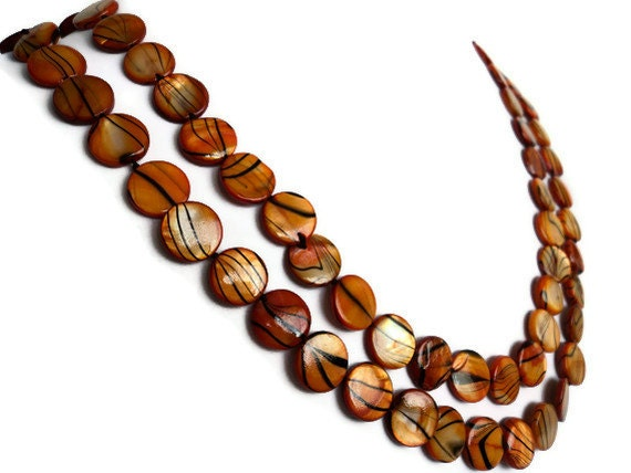 Indian Summer Striped Extra Long Shell Pearl Necklace, Orange and Brown - Lunarpearl
