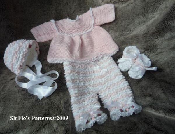 Crochet Baby Bonnet And Booties Pattern : CROCHET PATTERN For Baby Ruffled Pants Angel Top Bonnet by ...