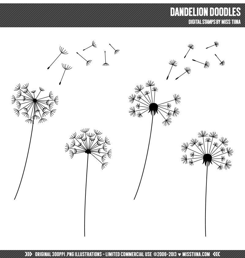 Gallery for dandelion black and white clip art for Dandelion coloring page