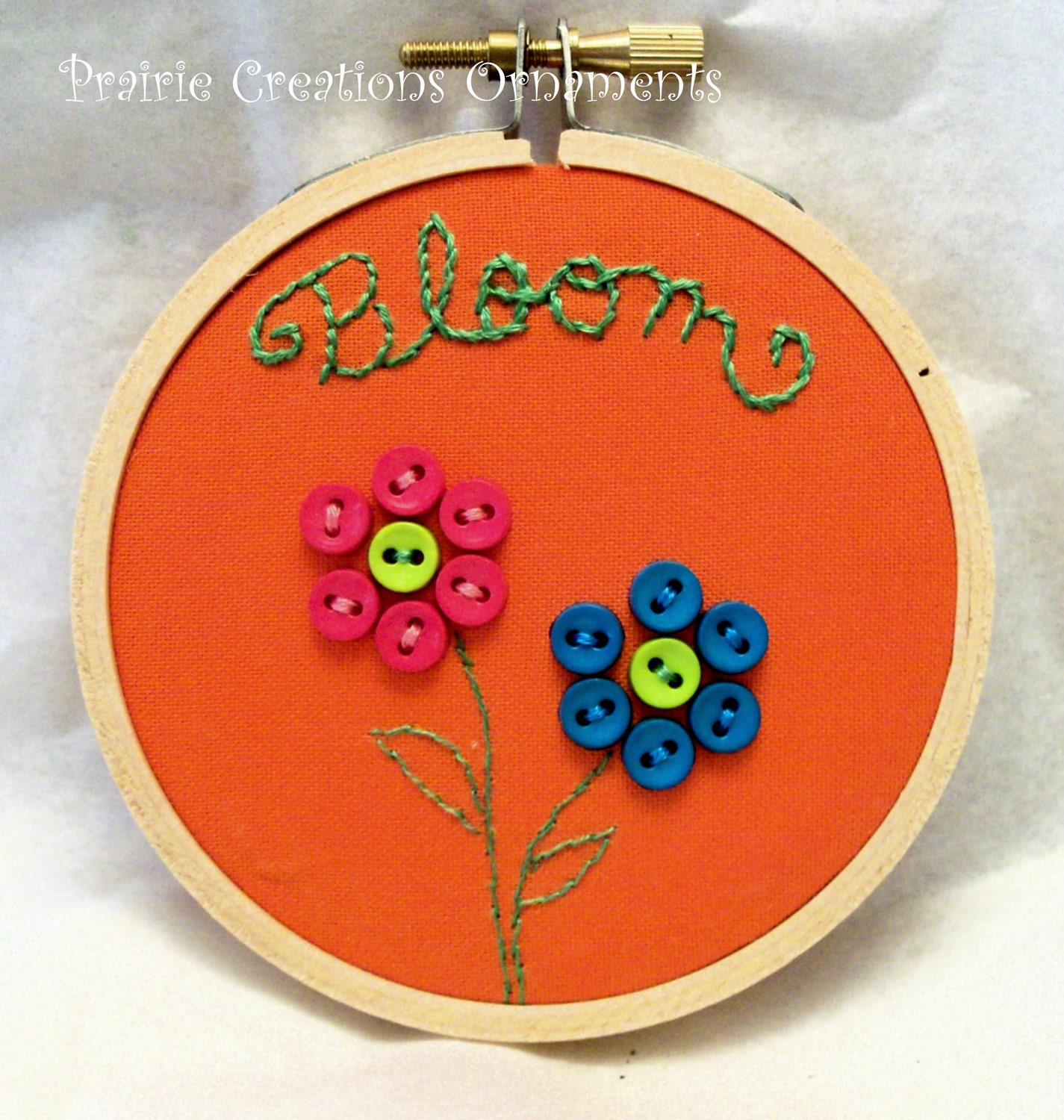 "3"" Hoop Art Hand Embroidered Button Flower Wall Decor Bloom - MyPrairieCreations"