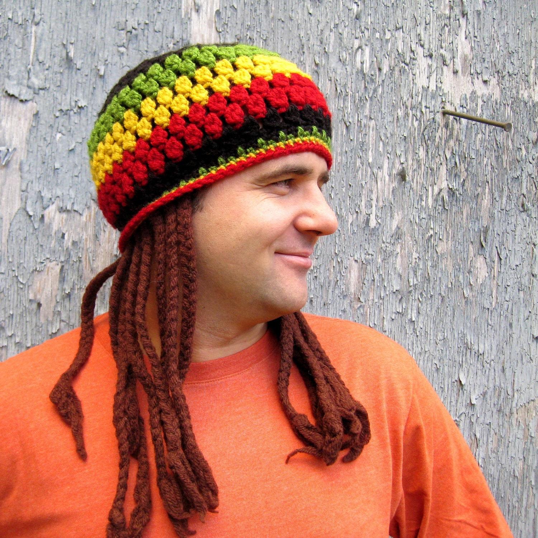 Free Crochet Patterns For Dreadlock Hats : FREE PATTERN Jamaican Hat with Fake Dreadlocks by CrocheTrend