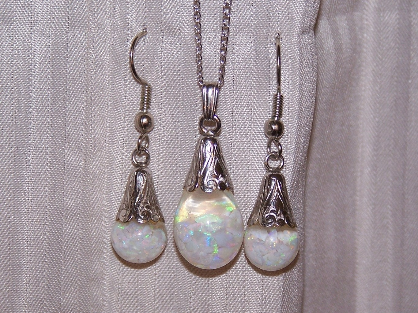 floating opal or opalite necklace and earrings set by