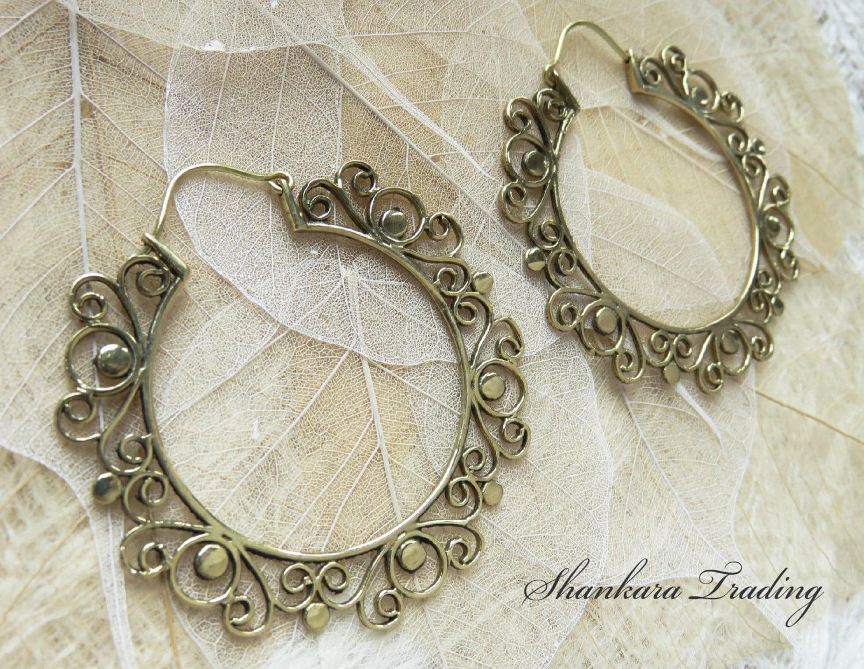 Brass Tribal Earrings Gypsy Hoop Earrings Boho Brass Jewelry Tribal Brass Earrings Ethnic Earrings Belly Dance Jewelry Hoop Earrings